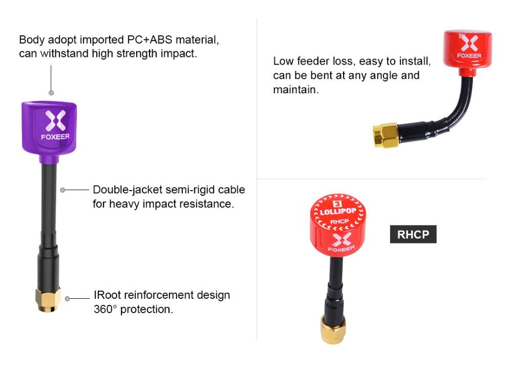 Foxeer Lollipop 3 /5.8G RHCP FPV Antenna 'SMA'